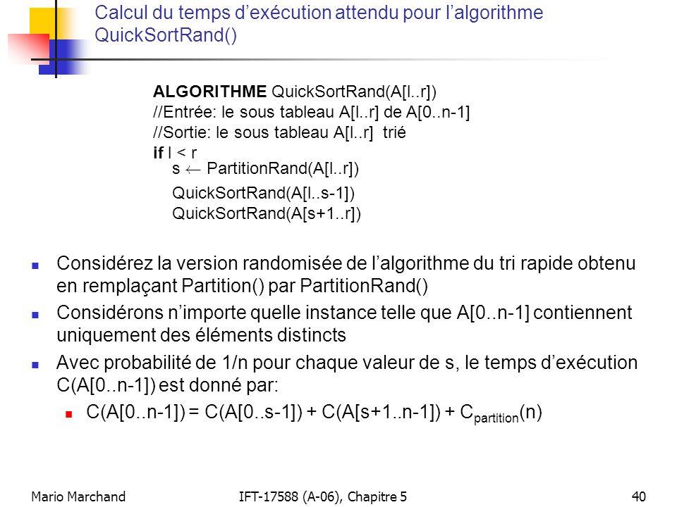 Calcul du temps d'exécution attendu pour l'algorithme QuickSortRand()