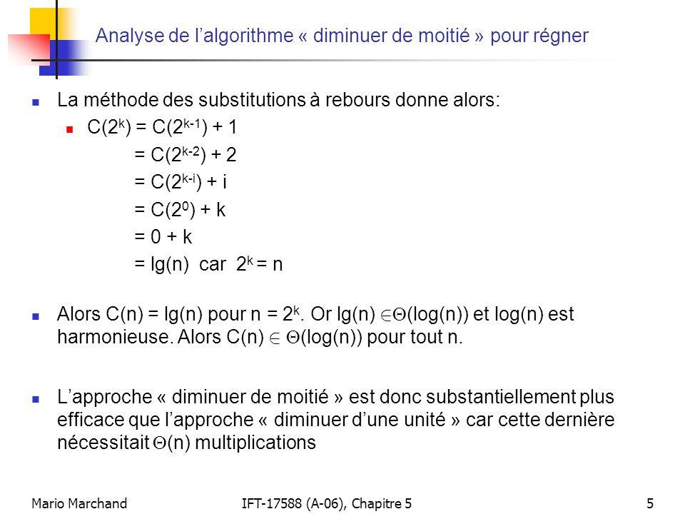 Analyse de l'algorithme « diminuer de moitié » pour régner