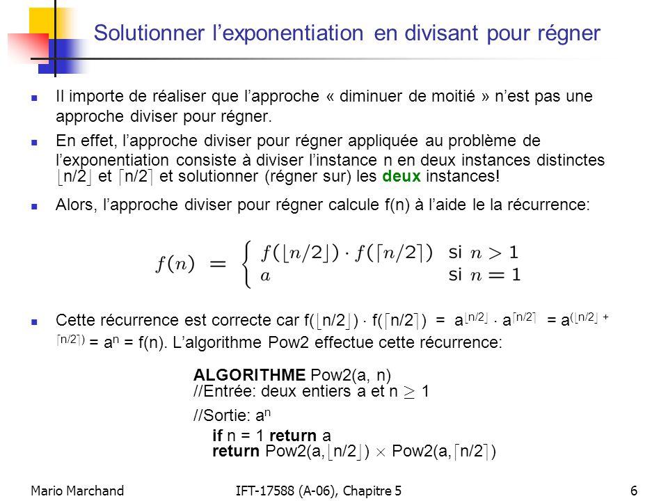 Solutionner l'exponentiation en divisant pour régner
