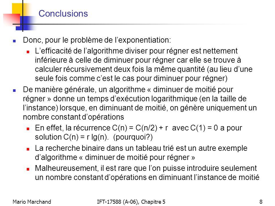 Conclusions Donc, pour le problème de l'exponentiation: