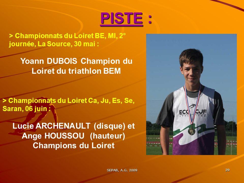 Yoann DUBOIS Champion du Loiret du triathlon BEM