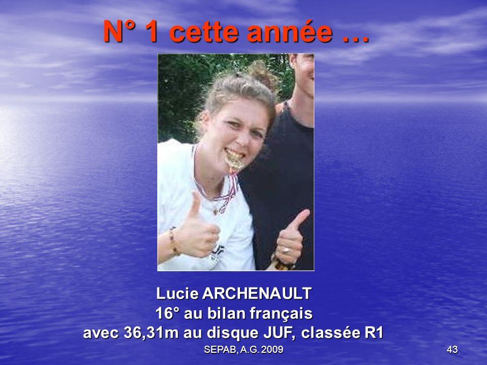 N° 1 cette année … Lucie ARCHENAULT 16° au bilan français avec 36,31m au disque JUF, classée R1.