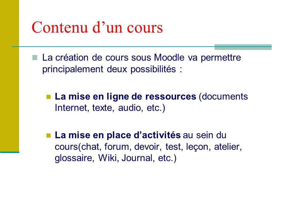 Contenu d'un cours La création de cours sous Moodle va permettre principalement deux possibilités :