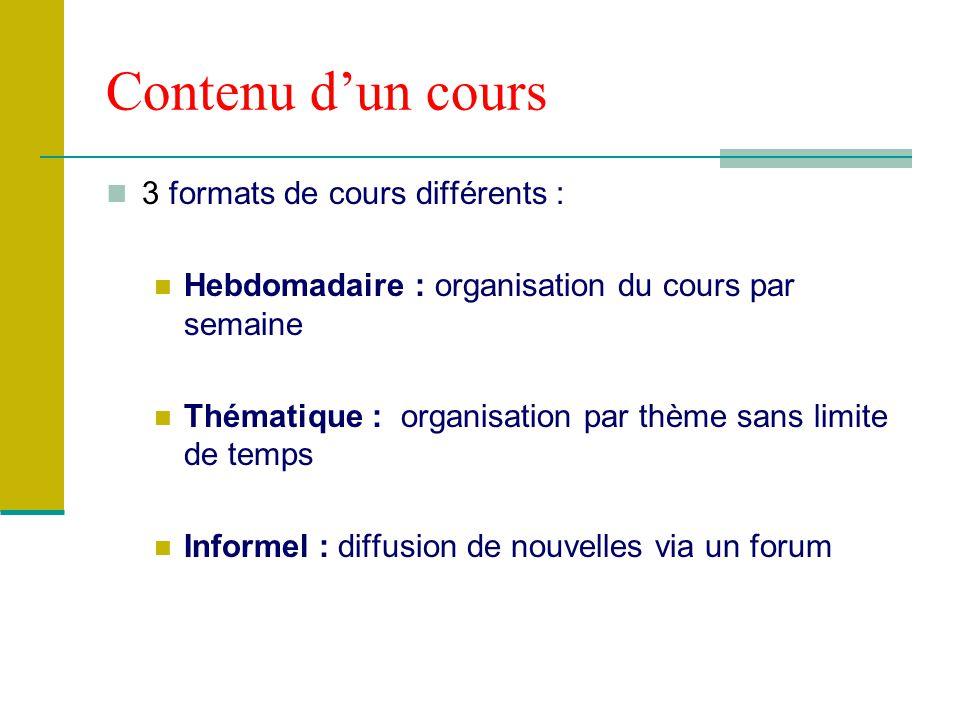 Contenu d'un cours 3 formats de cours différents :