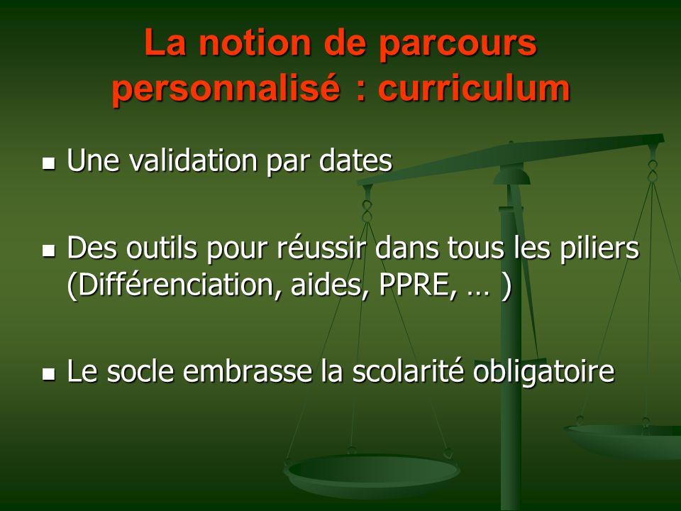 La notion de parcours personnalisé : curriculum