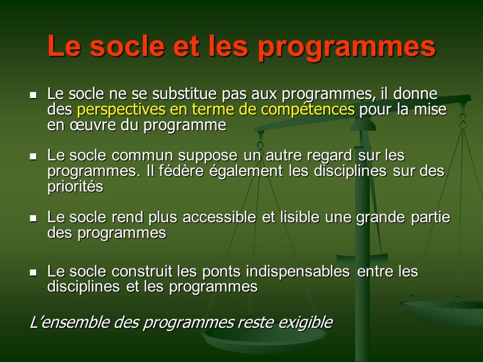 Le socle et les programmes