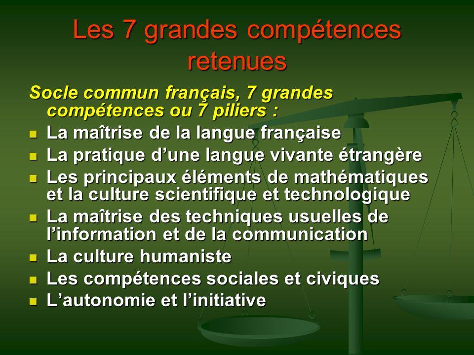 Les 7 grandes compétences retenues