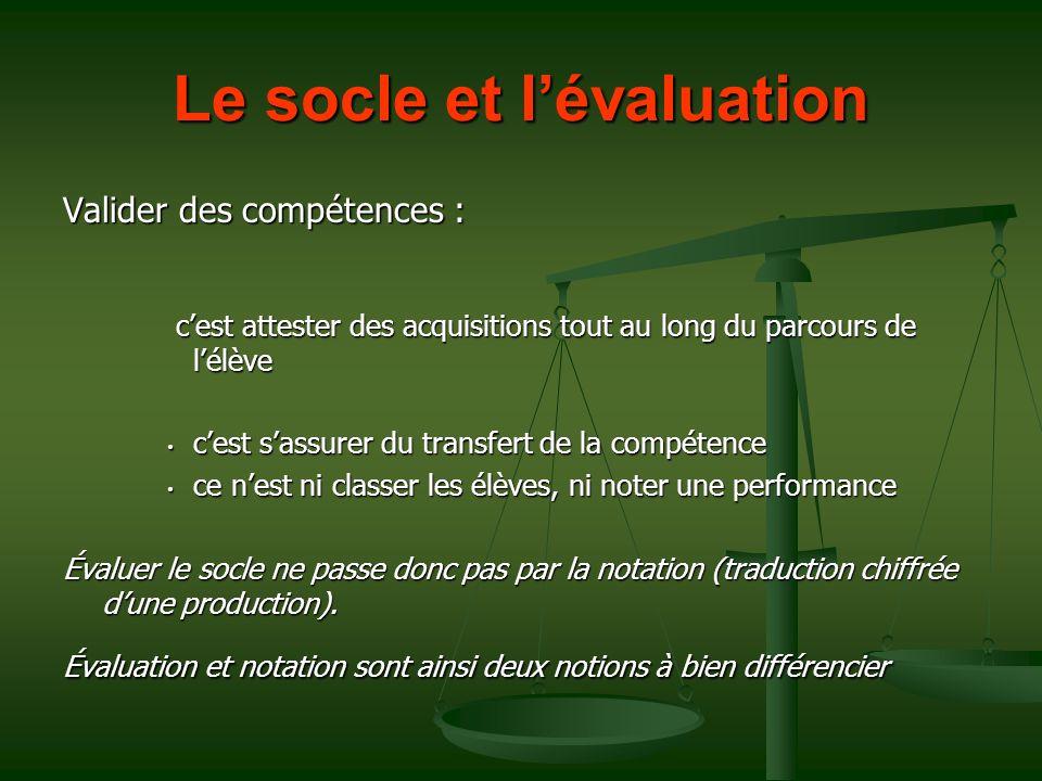 Le socle et l'évaluation