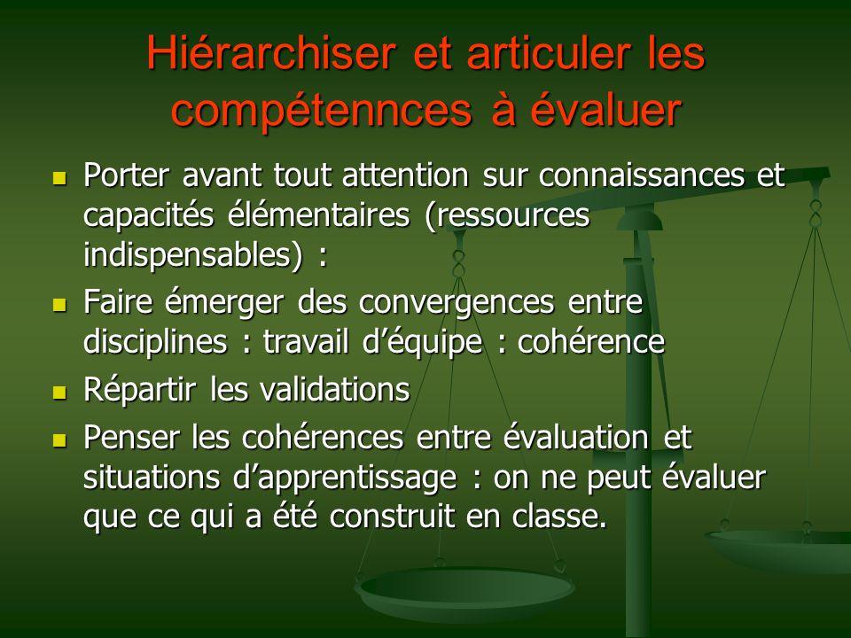 Hiérarchiser et articuler les compétennces à évaluer