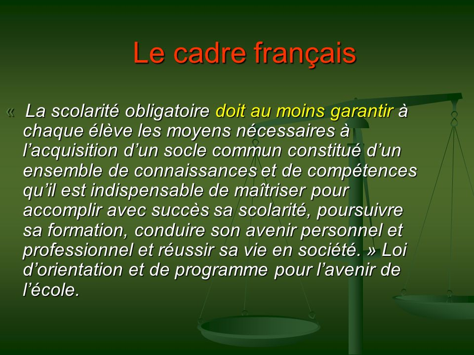 Le cadre français
