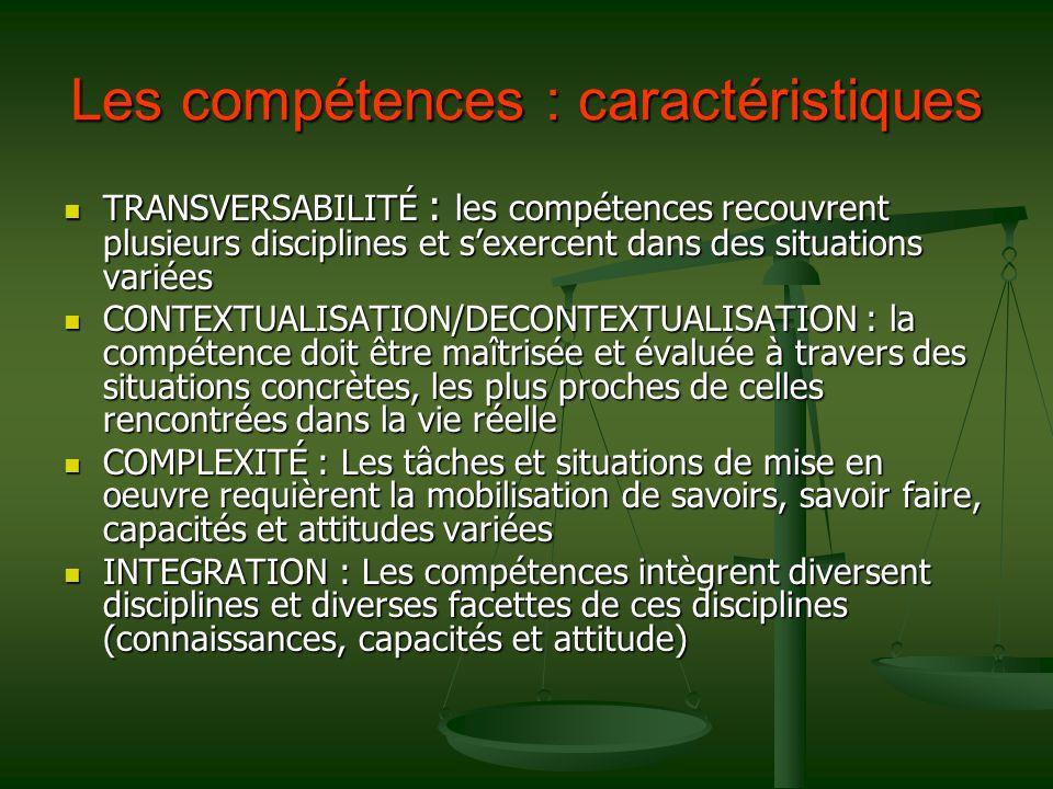 Les compétences : caractéristiques