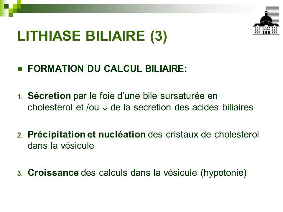 LITHIASE BILIAIRE (3) FORMATION DU CALCUL BILIAIRE: