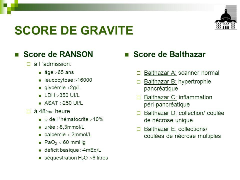 SCORE DE GRAVITE Score de RANSON Score de Balthazar à l 'admission:
