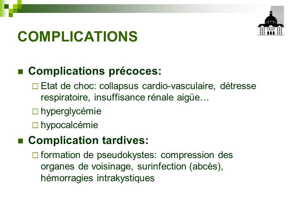 COMPLICATIONS Complications précoces: Complication tardives: