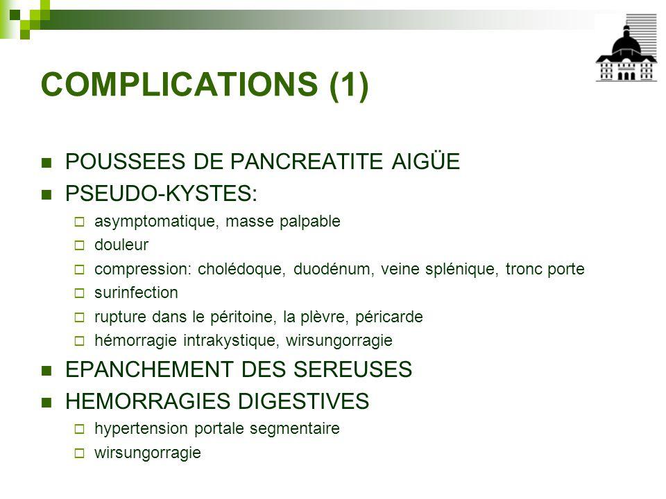 COMPLICATIONS (1) POUSSEES DE PANCREATITE AIGÜE PSEUDO-KYSTES: