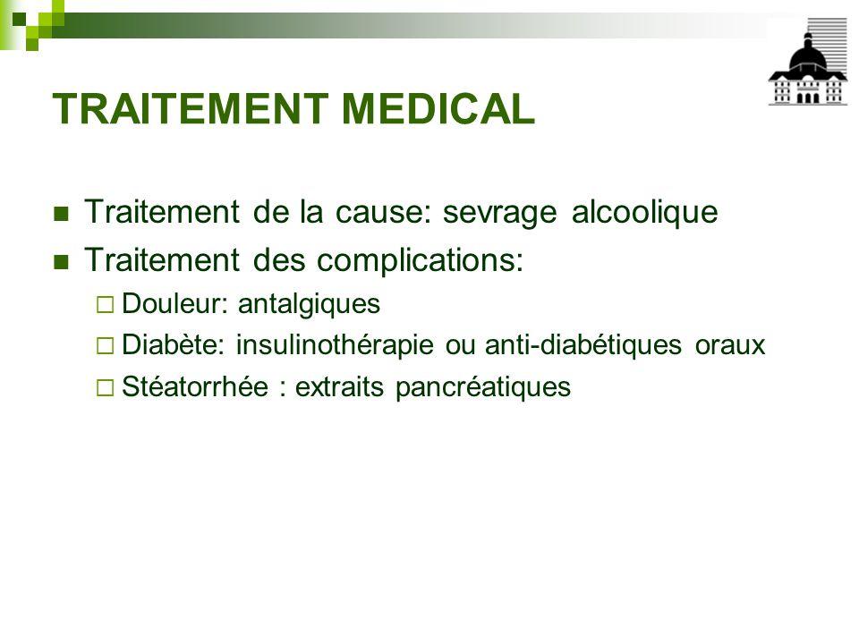 TRAITEMENT MEDICAL Traitement de la cause: sevrage alcoolique