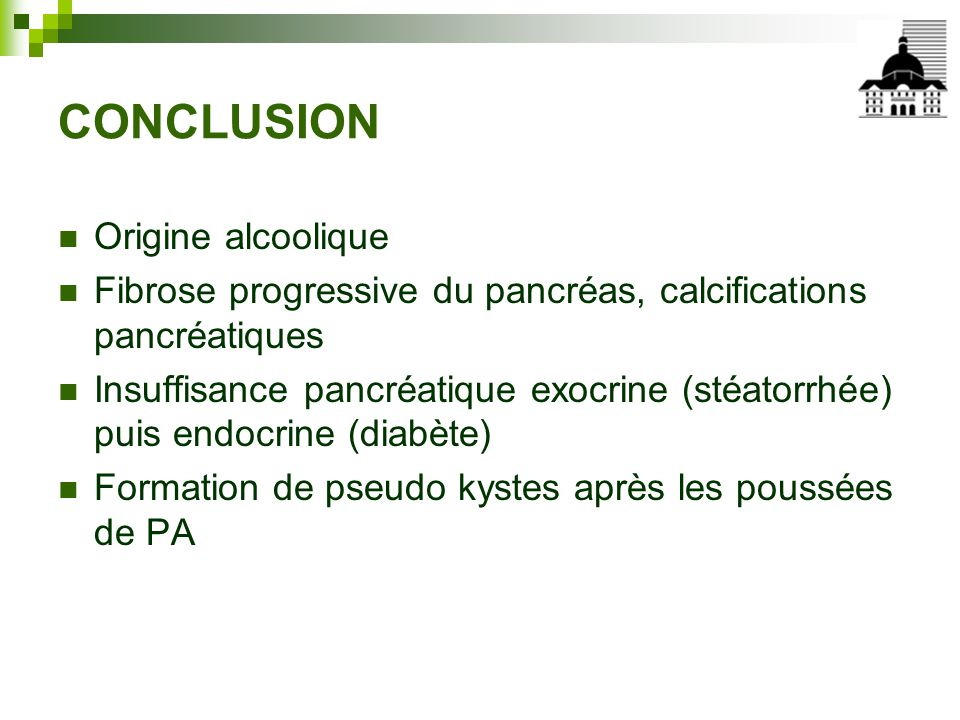 CONCLUSION Origine alcoolique