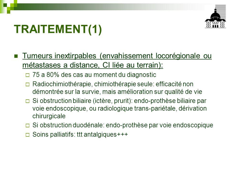 TRAITEMENT(1) Tumeurs inextirpables (envahissement locorégionale ou métastases a distance, CI liée au terrain):