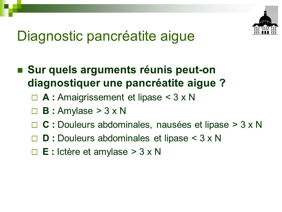 Diagnostic pancréatite aigue