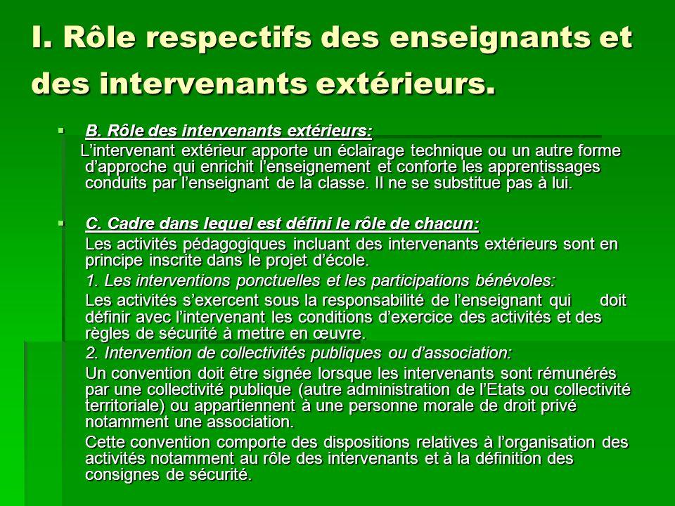 I. Rôle respectifs des enseignants et des intervenants extérieurs.