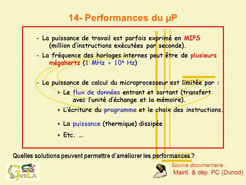 14- Performances du µP - La puissance de travail est parfois exprimé en MIPS. (million d'instructions exécutées par seconde).