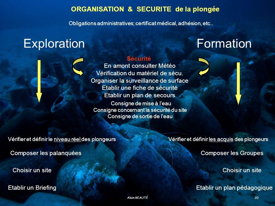 Exploration Formation ORGANISATION & SECURITE de la plongée Sécurité