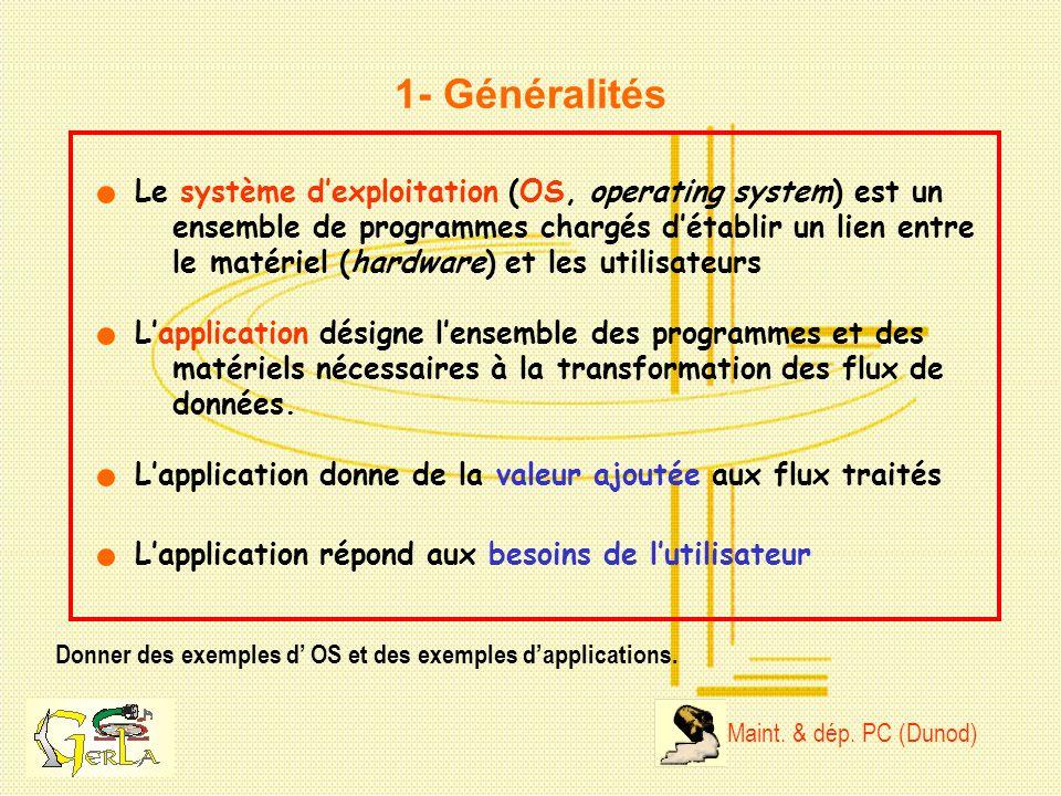 1- Généralités Le système d'exploitation (OS, operating system) est un