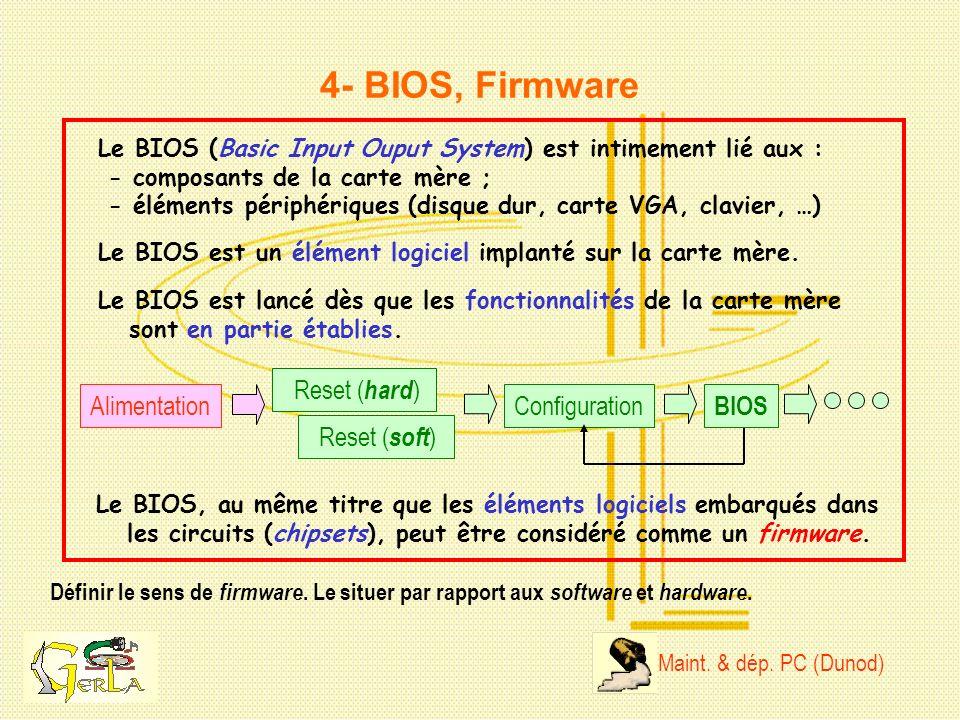 4- BIOS, Firmware Reset (hard) Alimentation Configuration BIOS