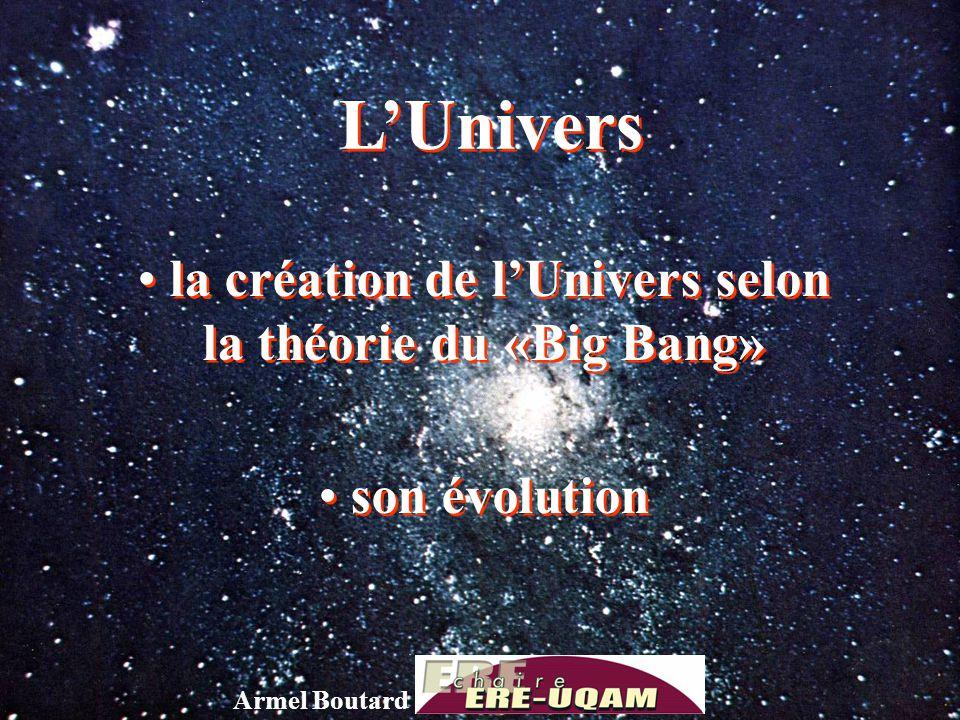 la création de l'Univers selon la théorie du «Big Bang»