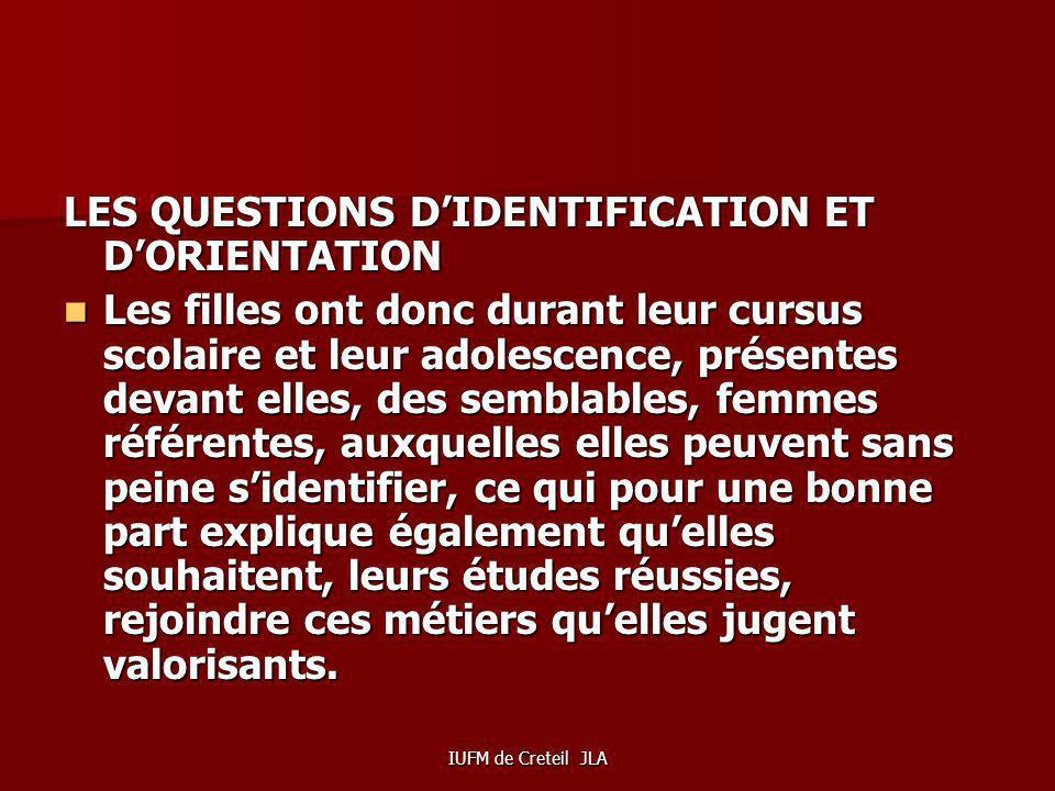 LES QUESTIONS D'IDENTIFICATION ET D'ORIENTATION