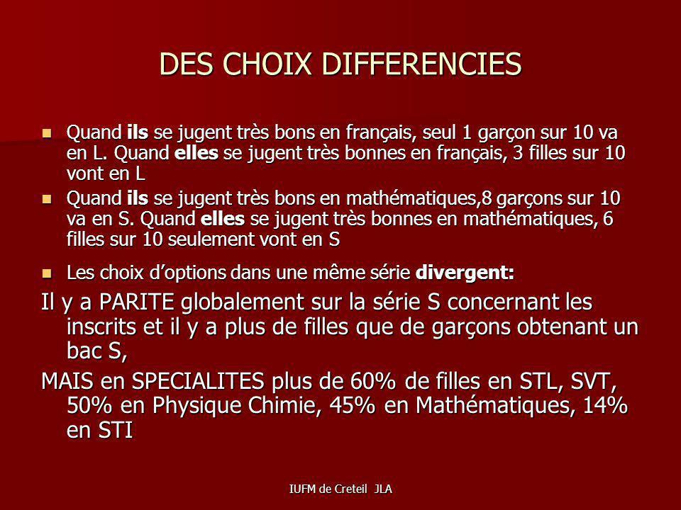 DES CHOIX DIFFERENCIES