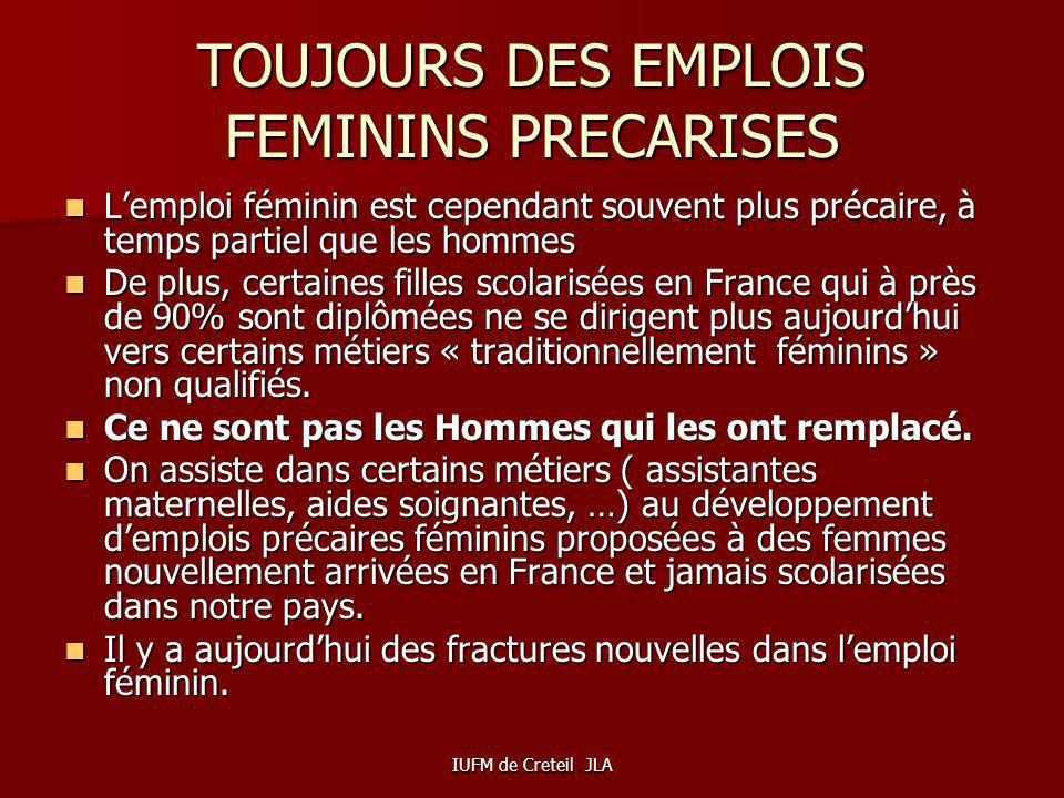 TOUJOURS DES EMPLOIS FEMININS PRECARISES