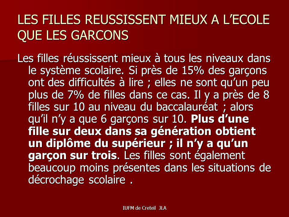 LES FILLES REUSSISSENT MIEUX A L'ECOLE QUE LES GARCONS