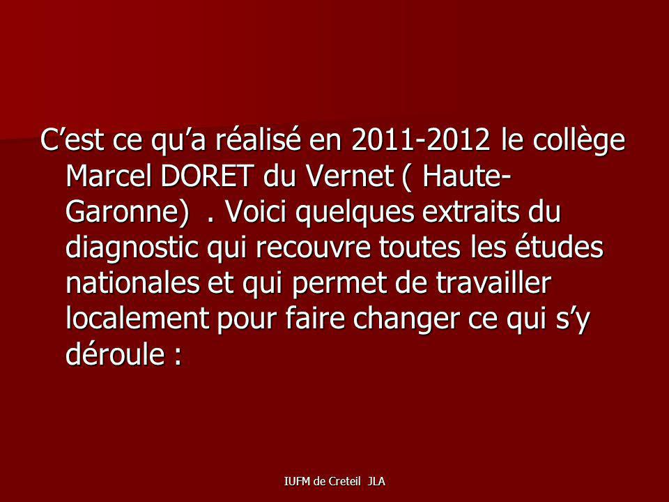 C'est ce qu'a réalisé en 2011-2012 le collège Marcel DORET du Vernet ( Haute-Garonne) . Voici quelques extraits du diagnostic qui recouvre toutes les études nationales et qui permet de travailler localement pour faire changer ce qui s'y déroule :