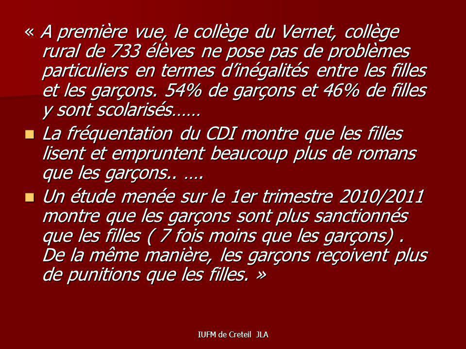 « A première vue, le collège du Vernet, collège rural de 733 élèves ne pose pas de problèmes particuliers en termes d'inégalités entre les filles et les garçons. 54% de garçons et 46% de filles y sont scolarisés……