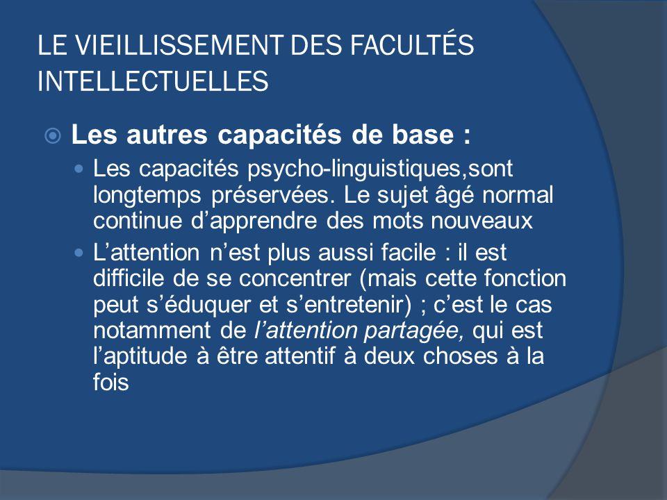 LE VIEILLISSEMENT DES FACULTÉS INTELLECTUELLES