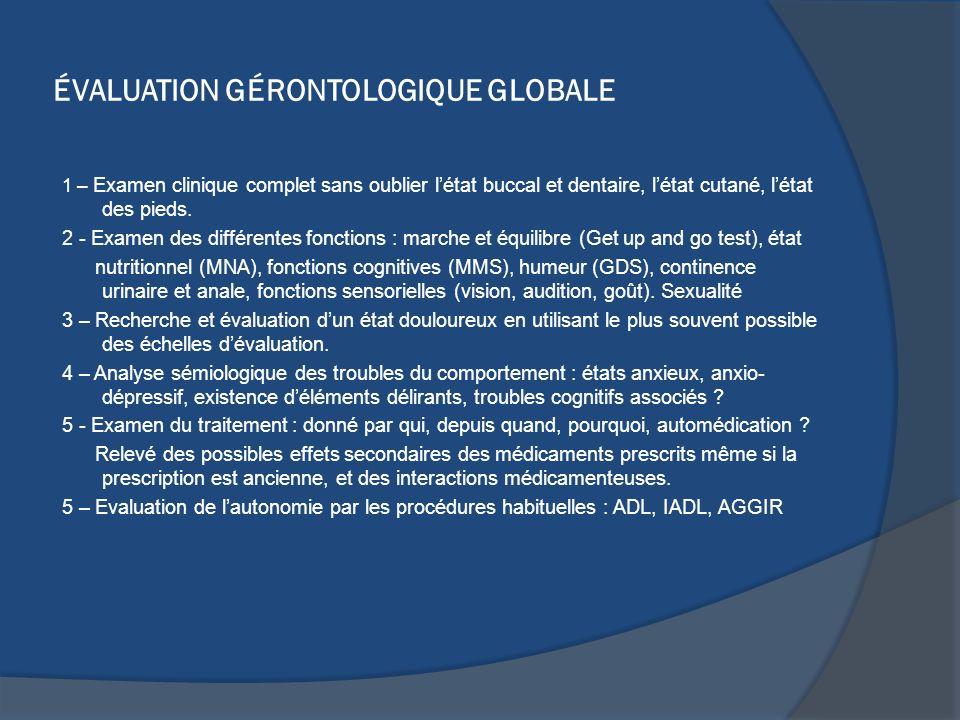 ÉVALUATION GÉRONTOLOGIQUE GLOBALE