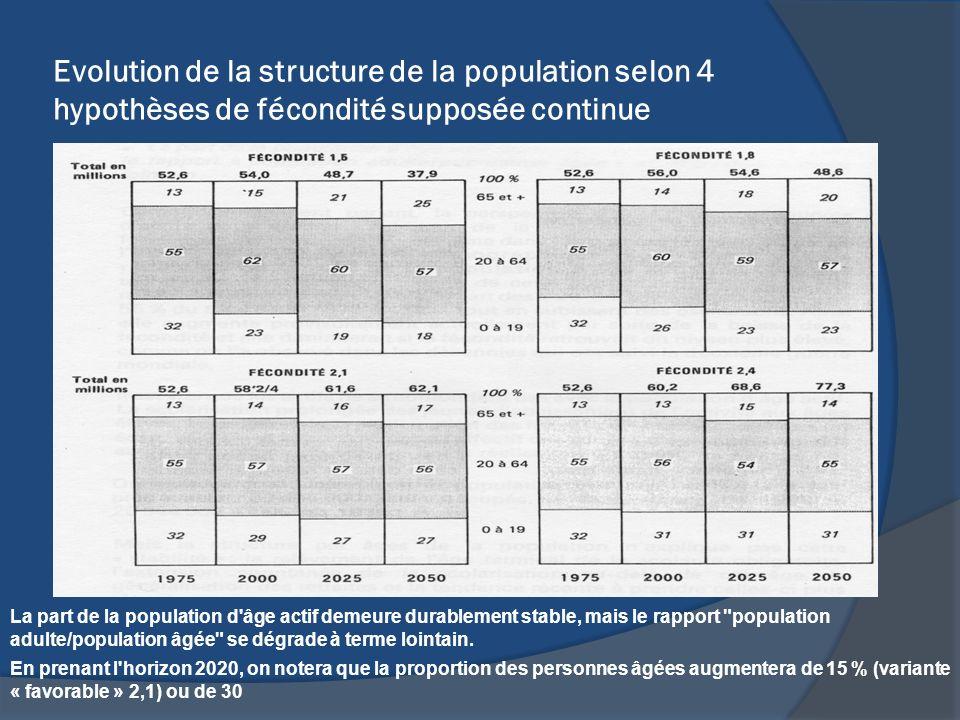Evolution de la structure de la population selon 4 hypothèses de fécondité supposée continue