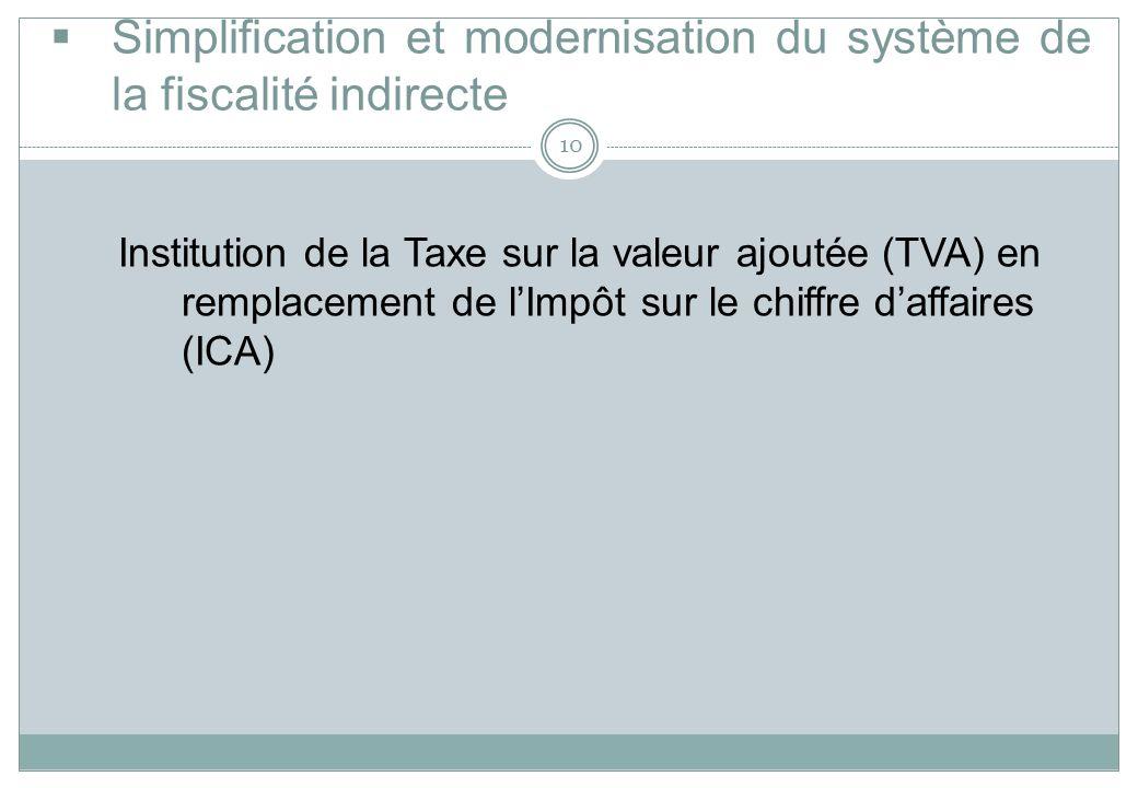 Simplification et modernisation du système de la fiscalité indirecte
