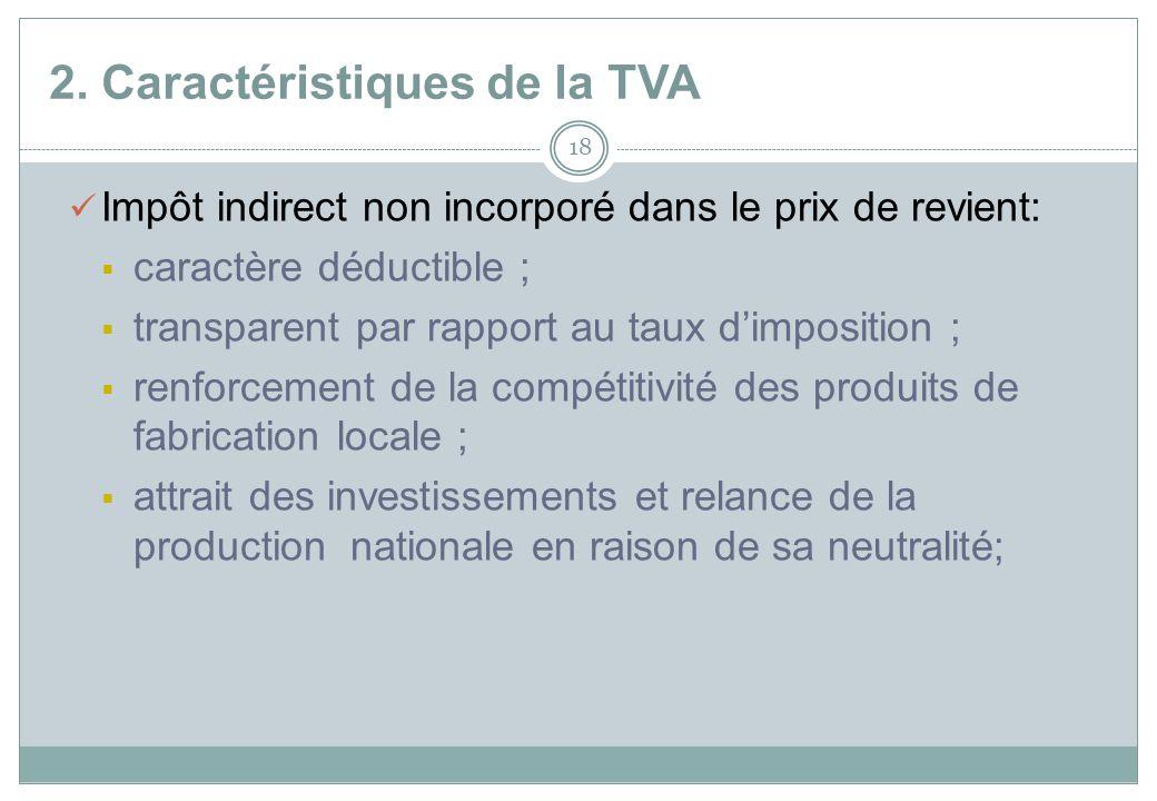 2. Caractéristiques de la TVA