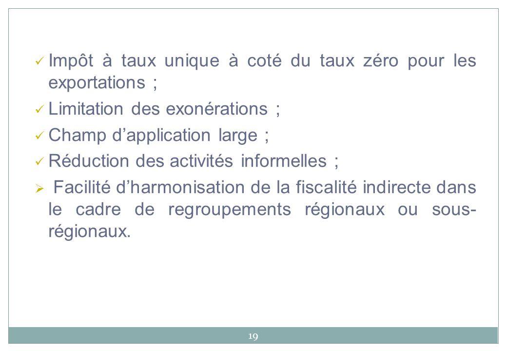 Impôt à taux unique à coté du taux zéro pour les exportations ;