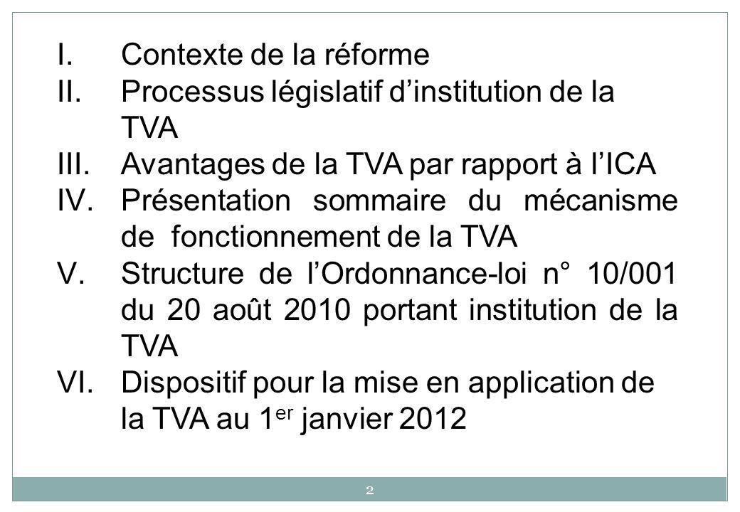 Contexte de la réforme Processus législatif d'institution de la TVA. Avantages de la TVA par rapport à l'ICA.