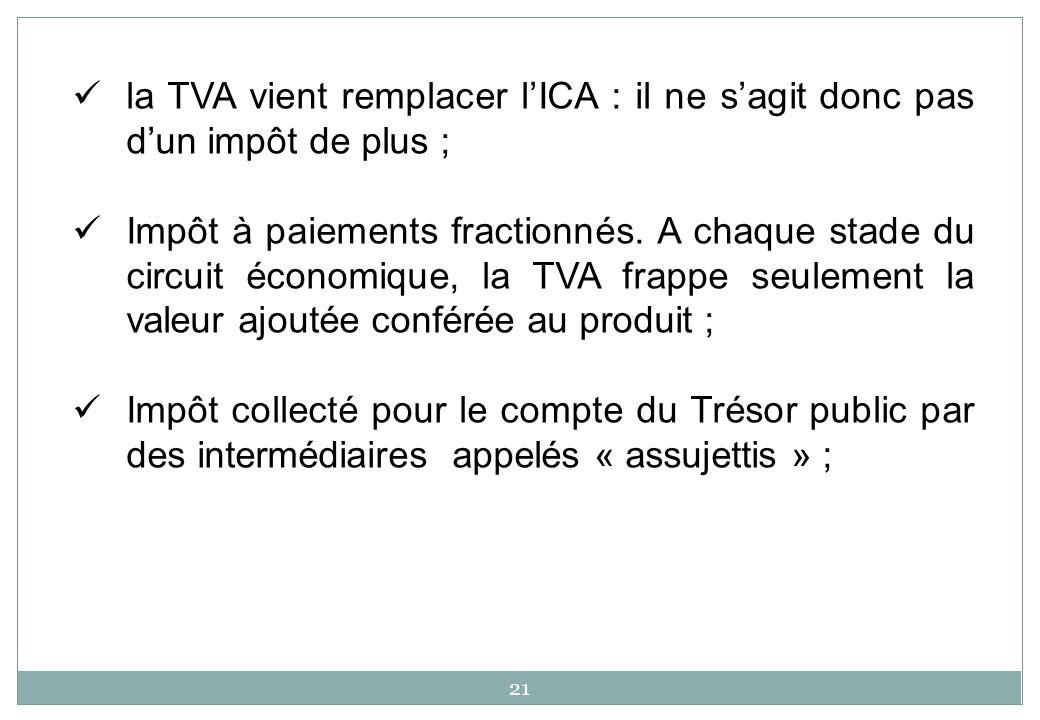 la TVA vient remplacer l'ICA : il ne s'agit donc pas d'un impôt de plus ;