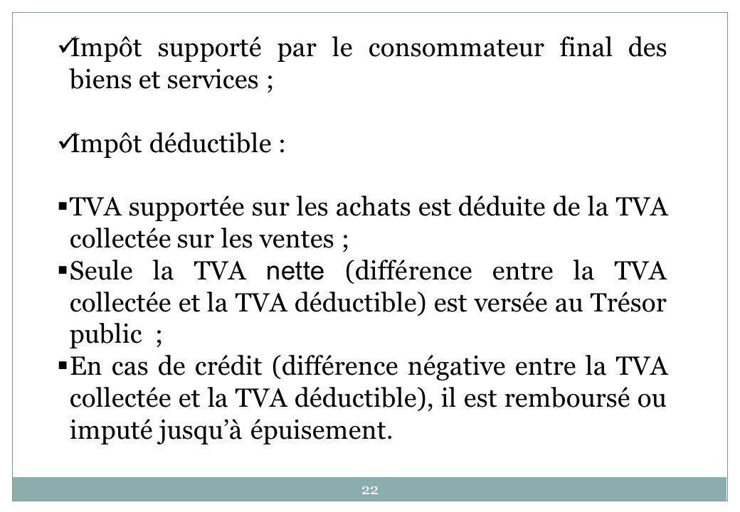 Impôt supporté par le consommateur final des biens et services ;