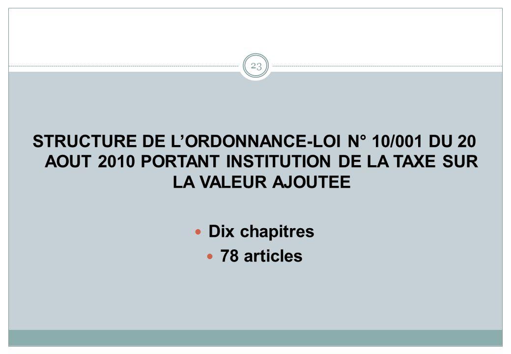 STRUCTURE DE L'ORDONNANCE-LOI N° 10/001 DU 20 AOUT 2010 PORTANT INSTITUTION DE LA TAXE SUR LA VALEUR AJOUTEE