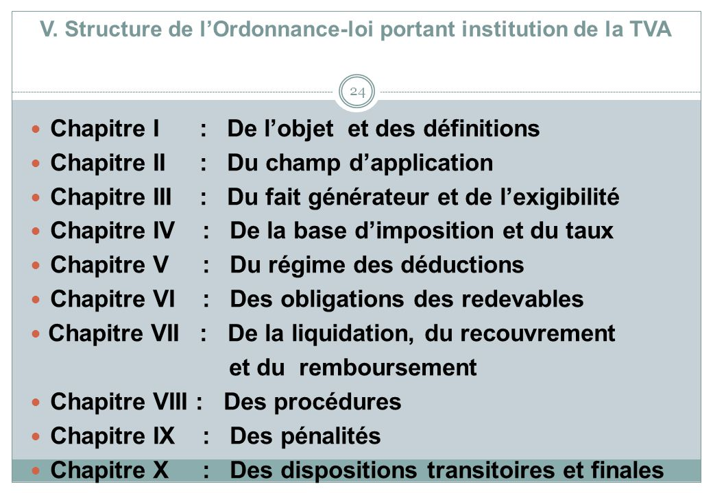 V. Structure de l'Ordonnance-loi portant institution de la TVA