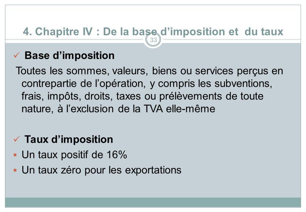 4. Chapitre IV : De la base d'imposition et du taux