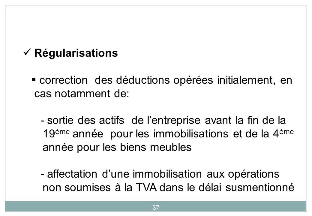 Régularisations correction des déductions opérées initialement, en cas notamment de: