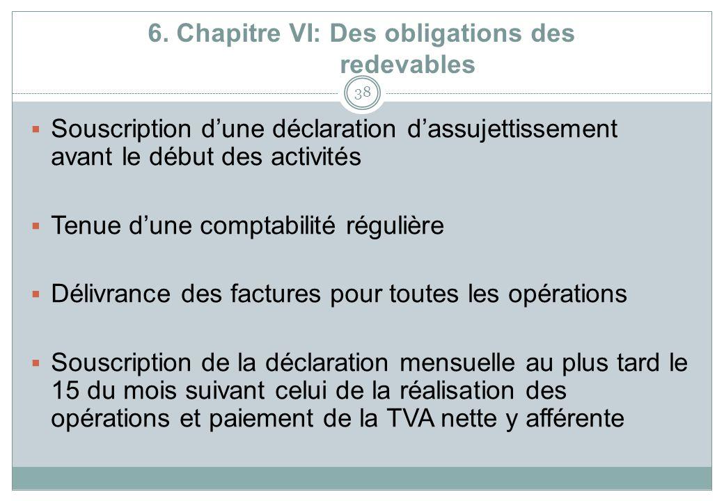 6. Chapitre VI: Des obligations des redevables