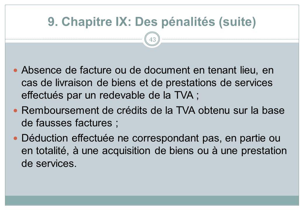 9. Chapitre IX: Des pénalités (suite)